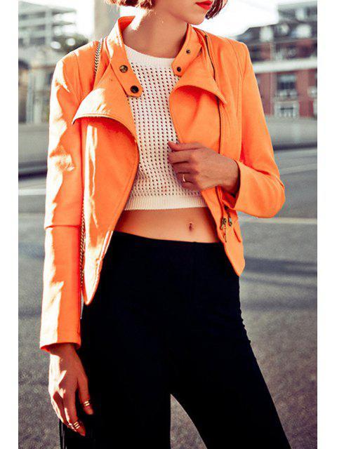 Stand Neck Zippered PU Leather Jacket - Orange S Mobile