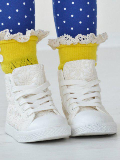 trendy Pair of Chic Button and Lace Embellished Rhombus Knitted Boot Cuffs For Girls - RANDOM COLOR  Mobile
