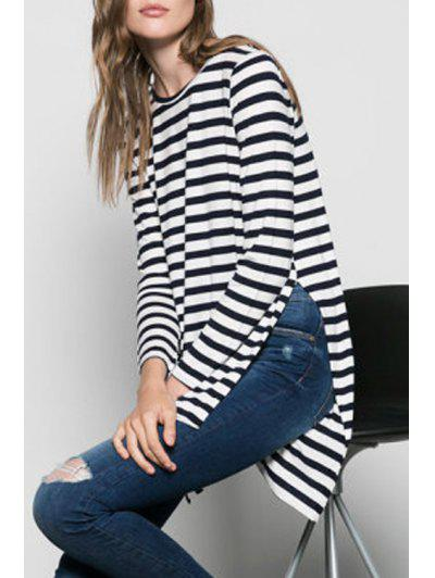 Side Slit High Low Striped T-Shirt - White M