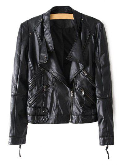 Stand Neck Long Sleeve Zippered PU Leather Jacket