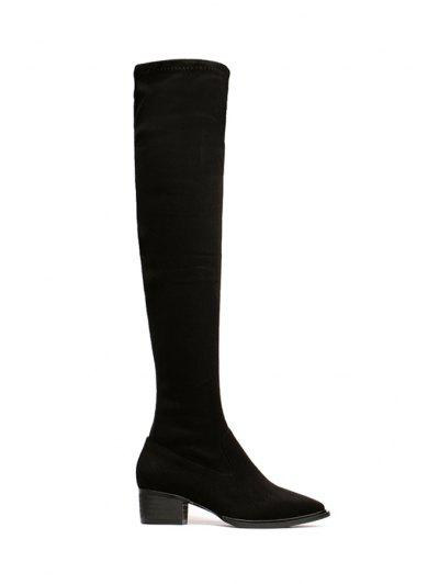 Suede Black Pointed Toe Thigh Boots - Black 36
