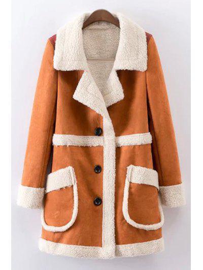 Double Pockets Single Breasted Fleece Coat