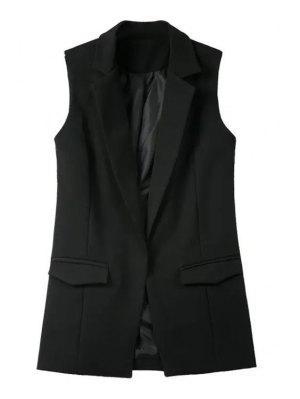 Pure Color Lapel Collar Pocket Waistcoat