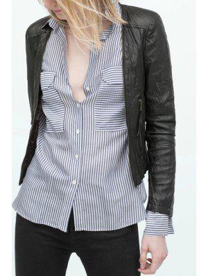 Jaqueta de couro falso de colarinho conversível - preto Xl