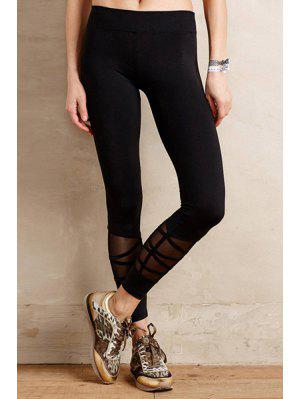 Voile Spliced Black Leggings