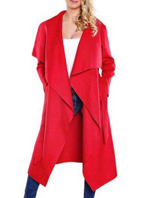 Large Lapel Self-Tie Belt Wool Coat