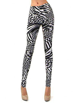 Abstract Print Skinny High Elasticity Pants - White And Black M