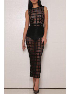 Checked See-Through Sleeveless Dress - Black Xl