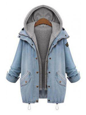 Hooded Drawstring Boyfriend Trends Pockets Jean Coat