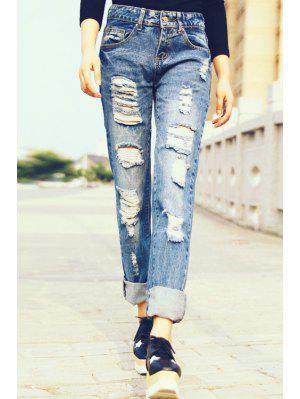 Hole Straight Leg Ripped Jeans