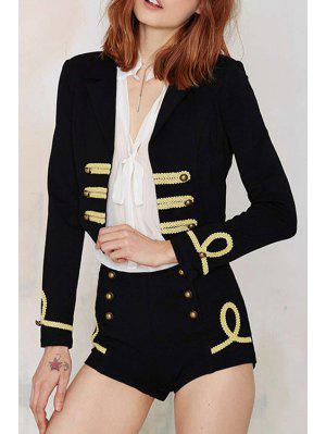 Lace Spliced Long Sleeve Blazer