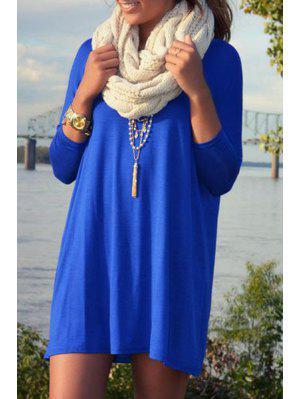 Blue Scoop Neck Nine-Minute Sleeve Dress - Sapphire Blue S