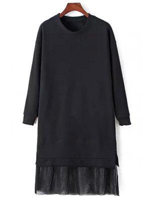 Malla Empalmada Vestido De Manga Larga - Negro M