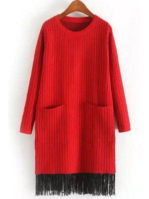 Two Pockets Tassels Sweater Dress - Red