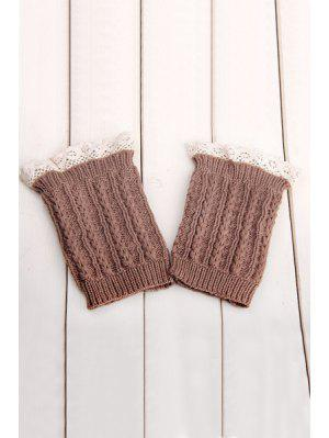 Lace Herringbone Knitted Boot Cuffs