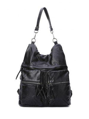 Negro Zipper Repujado Bolsa De Hombro - Negro