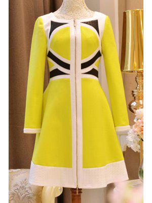 Vestido De Color Alto Con Cintura De Color - Amarillo Xl