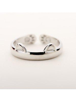 Alloy Cat Cuff Ring - Silver One-size