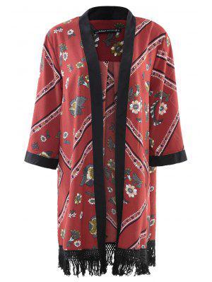Kimono à Manche Longue En Mousseline De Soie - Rouge M