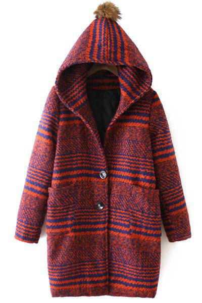 Hooded Striped Two Pockets Wool Coat