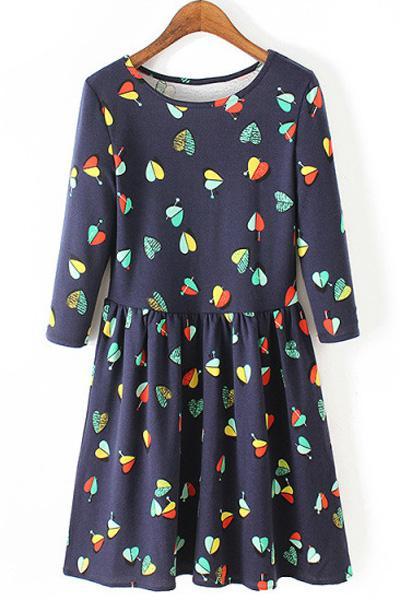 3/4 Sleeve Heart Print Dress