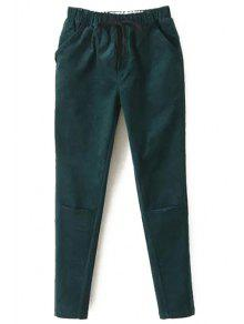 Solid Color Corduroy Women's Harem Pants - Green M