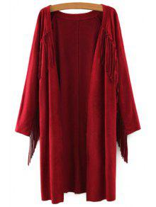 Solid Color Collarless Long Sleeves Faux Suede Cardigan - Wine Red M