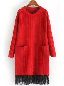 اثنين من جيوب الشرابة سترة اللباس - أحمر