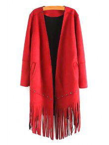 Long Sleeve Tassels Solid Color Coat - Red M