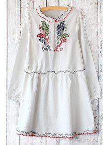 Embroidered Stand Neck Long Sleeve Dress - WHITE ONE SIZE(FIT SIZE XS TO M)