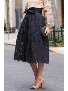 High-Waisted Bowknot Lace Skirt - Black M