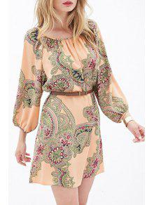 Buy Ethnic Print 3/4 Sleeves Dress - ORANGEPINK XL