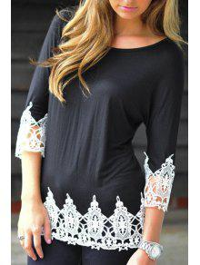 Buy White Lacework Spliced Round Collar 3/4 Sleeves T-Shirt - BLACK XL
