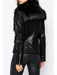 Large faux fur collar pu leather jacket black jackets for What is faux leather to real leather