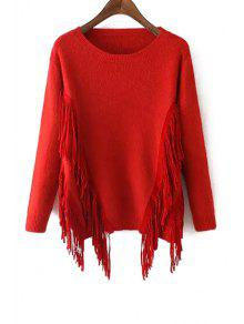 Solid Color Tassels Long Sleeves Pullover Sweater - Red