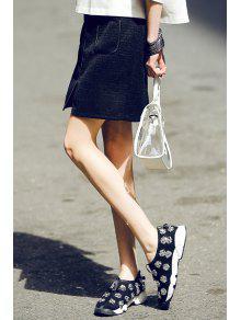 Pocket Design Front Slit Mini Skirt - Black S