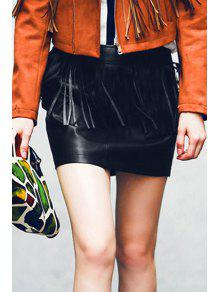 Fringed Faux Leather Skirt - Black Xl
