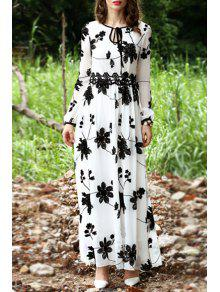 33ff6439073 35% OFF] 2019 Floral Embroidered Long Sleeve Maxi Dress In WHITE | ZAFUL