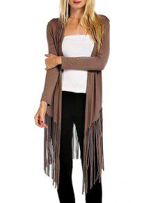 Open Front Tassels Trench Coat - Brown Xl