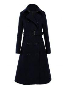 Blue Double-Breasted Wool Coat With Belt BLUE: Jackets & Coats XL ...