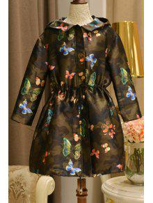 784fa6a604d54 28% OFF] 2019 Hooded Butterfly Drawstring Camouflage Coat In GREEN ...