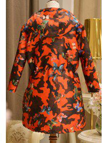 94ac3f19e7d86 28% OFF] 2019 Hooded Butterfly Drawstring Camouflage Coat In RED | ZAFUL