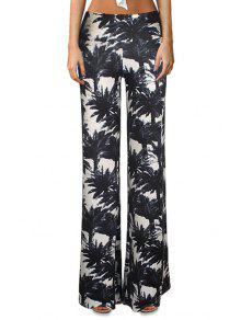 Tropical Print Flare Yoga Pants - White And Black S