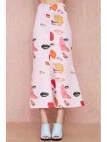 Lip Print A-Line Long Skirt - Pink M