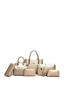 Embossing Solid Color Letter Tote Bag - Golden