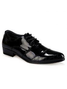 أنيقة براءات الاختراع والجلود والتحقق تصميم الرجال الأحذية الرسمية - أسود 42