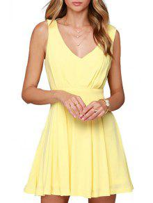 Backless Solid Color Plunging Neck Sleeveless Dress - Yellow L