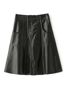 PU Leather Thicken All Match Solid Color Winter Skirt - Black L
