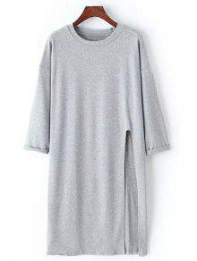Buy Side Slit Round Neck Long Sleeve T-Shirt - GRAY ONE SIZE(FIT SIZE XS TO M)