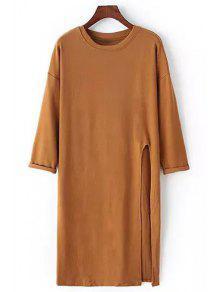 Buy Side Slit Round Neck Long Sleeve T-Shirt - KHAKI ONE SIZE(FIT SIZE XS TO M)